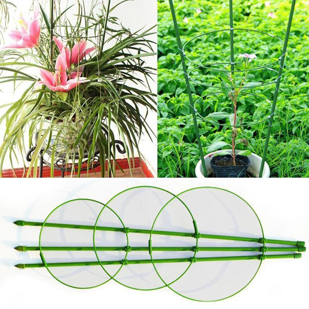 Planta de flores de plástico marco de soporte vides colgantes vegetales palo Clematis estante anillos Clips escalada jaula de jardín Orna Y0L7