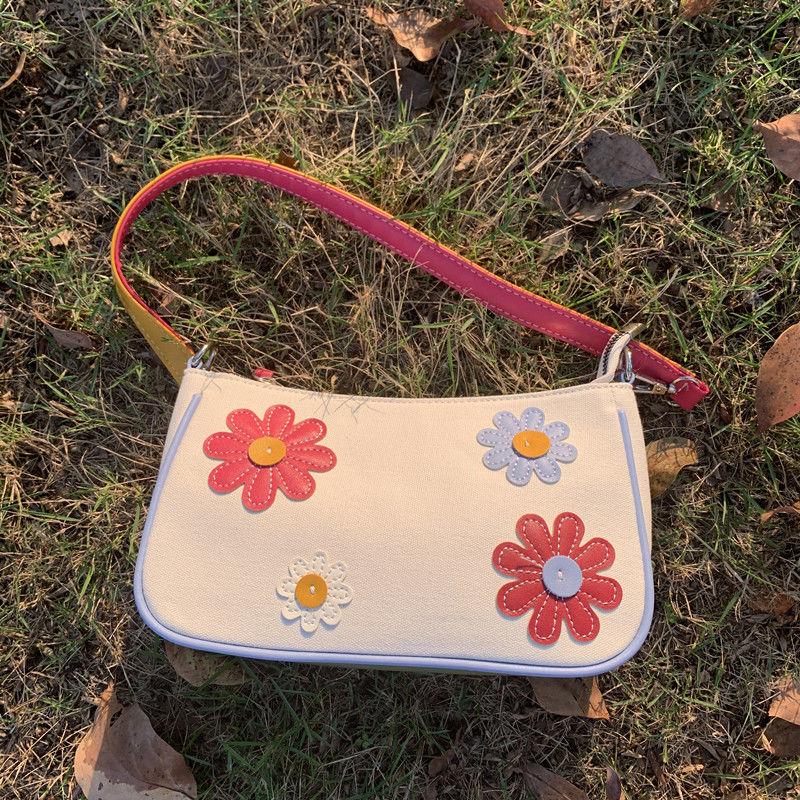 AliExpress - Vintage Flower Women Baguette Underarm Bag Contrast Color Ladies Canvas Purse Handbags Lovely Female Small Shoulder Bags Bolsas