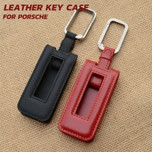 1Pcs Cow Leather Remote Smart Key Case Key Fob Key Chain Key Bag Key Cover Fit For Porsche Cayenne 911 718 981