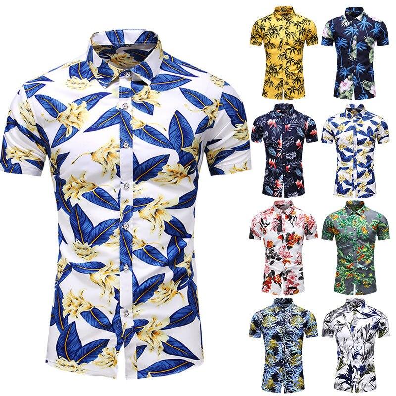 Новинка 2021, мужские облегающие рубашки с цветочным принтом, мужские повседневные Гавайские пляжные базовые Топы с коротким рукавом и цвето...