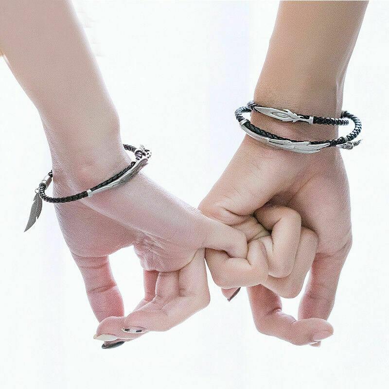 Pulseras de pareja League LOL Rakan Xayah, brazalete de cuero, regalo del Día de San Valentín, joyería de plata esterlina S925 para mujeres y hombres