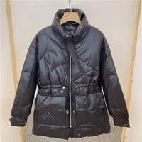 duck down womens outwear lightweight stand up collar mid length down waist thickened jacket batwing long sleeve puffer caot