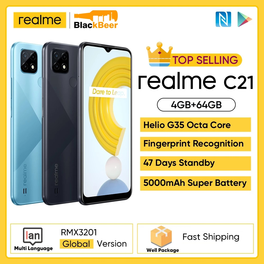 realme C21 6.5 inch 4G Smartphone Helio G35 Octa Core Mobile Phone 4GB RAM 64GB ROM 3-Card Slot Cellphone Global Version 5000mAh