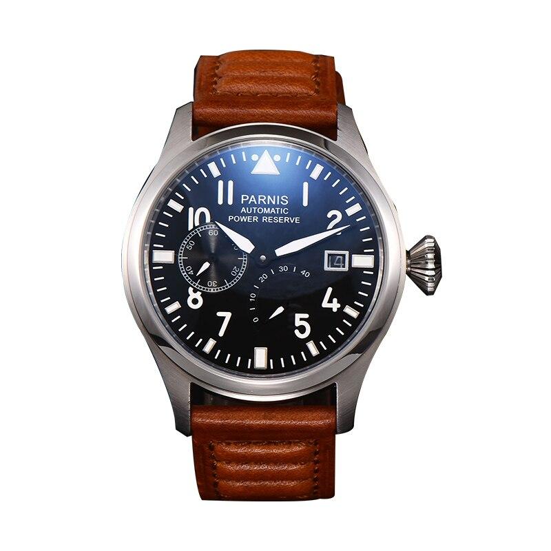 47 мм автоматические мужские часы механические часы запасная мощность Роскошные пилот светящиеся водонепроницаемые мужские наручные часы кожаный ремешок