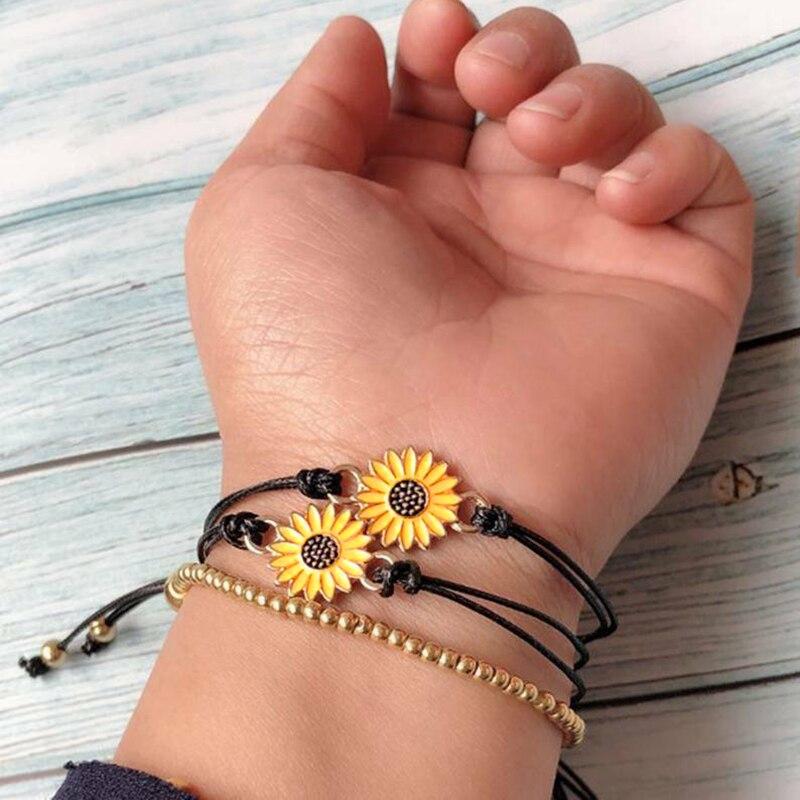 New Hot 2pcs Fashion Sunflower Wish Bracelet Adjustable Braided Bracelet Summer Alloy USJ99