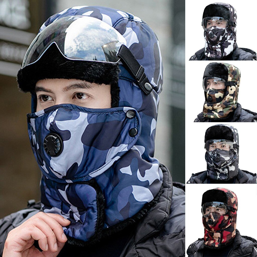 Adult Unisex Autumn Winter Outdoor Cycling Protection Face Mask Fashion Camouflage Printing Cap Hat