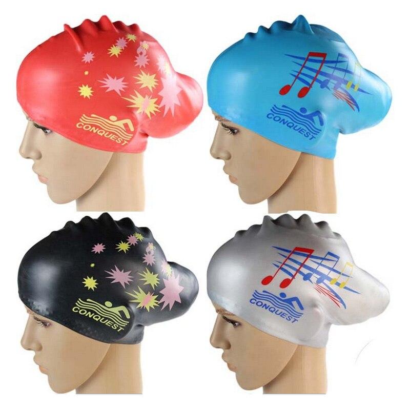 Силиконовые шапки для плавания для женщин и девушек, водонепроницаемые, очень большие, длинные, для дайвинга, оснащение для защиты ушей