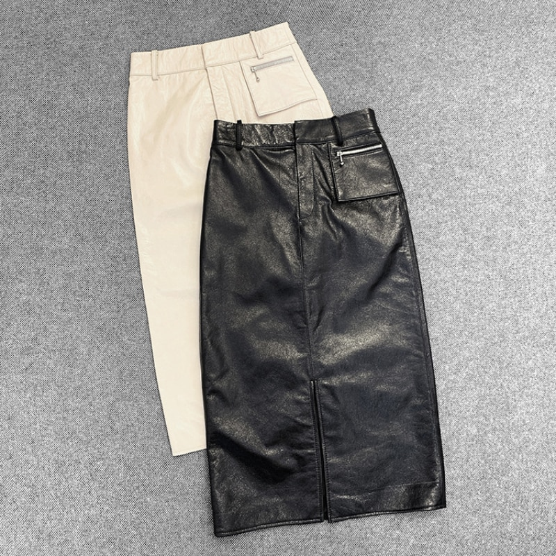 Spring Autumn Black White Real Genuine Leather Skirt High Waisted Midi Skirts Womens Bodycon Sexy Office Pencil Wrap Clothes