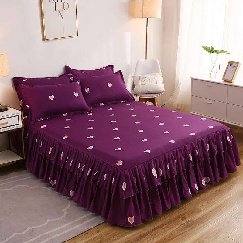 الأزياء السرير ورقة + 2 قطعة وسادة يغطي المفرش السرير تنورة سميكة ورقة سرير واحد الغبار كشكش زهرة نمط غطاء السرير ملاءات