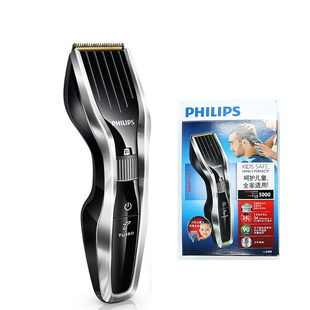 Профессиональные Philips электромашинка для стрижки волос, HC5450 с Перезаряжаемые титанового сплава лезвие беспроводной ЖК-дисплей бритва с дисплеем для мужчин