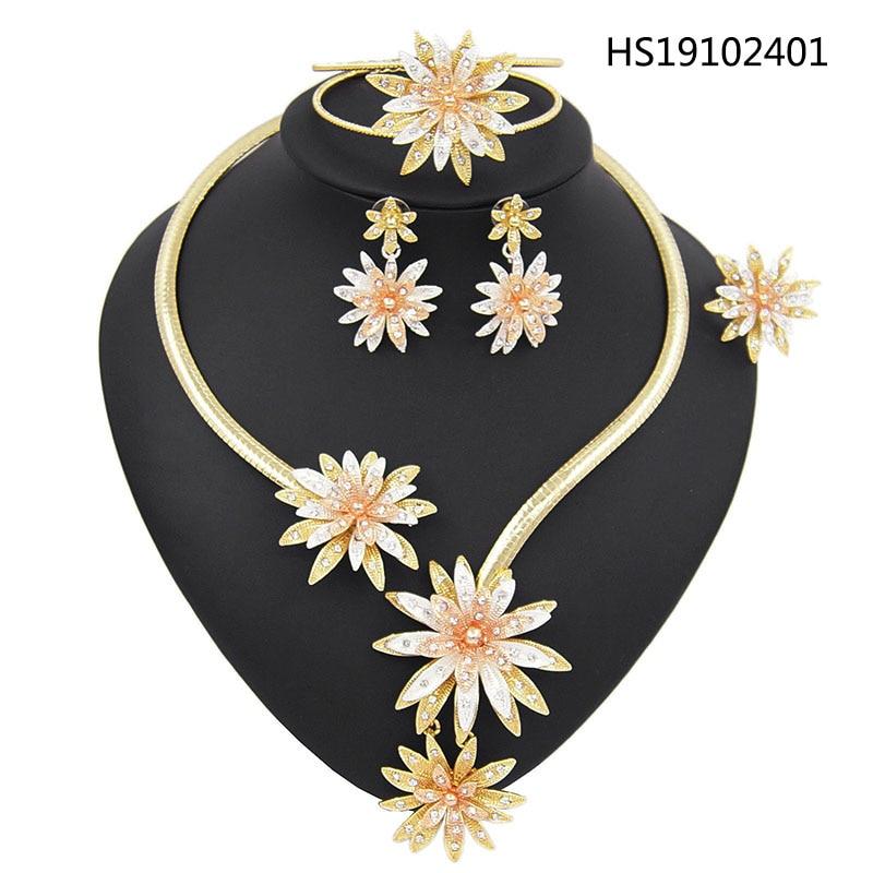 Yulaili Trendy Dubai Gold Jewelry Sets for Women Wedding Nigerian Bridal Three Tone Flower Necklace Earrings Bracelet Ring 4PCS
