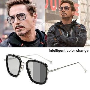 Men Sunglasses Photochromic Polarized Sun Glasses Punk Eyewear Retro Pilot Driving Goggles Change Color Chameleon Glasses UV400