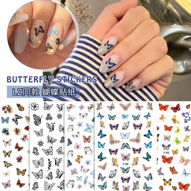 10 hojas coloridas 3D diseño de mariposa pegatina de uñas papel calcomanías autoadhesivas impermeables decoración de uñas accesorio de manicura