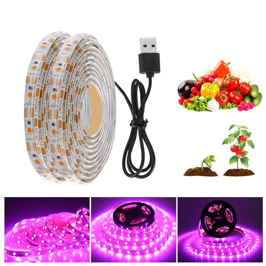 Luz LED de crecimiento de espectro completo USB tira de luz de crecimiento Chip LED lámpara de Fito para plantas invernadero de flores Luz de planta USB hidropónica