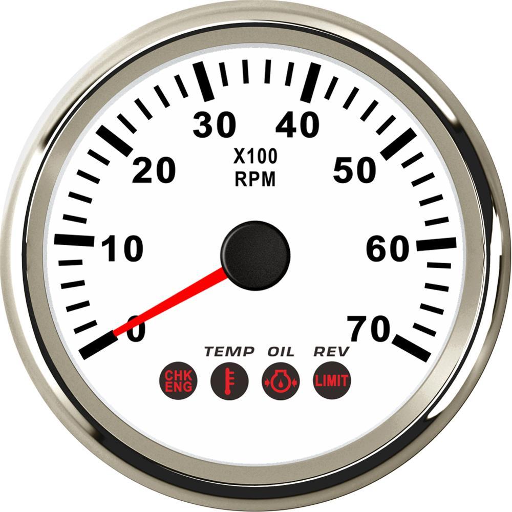 1pc 0-7000RPM revolución automotriz metros 9-32v 85mm tacómetros por barco camión con Rev y la presión del aceite temperatura función de alarma