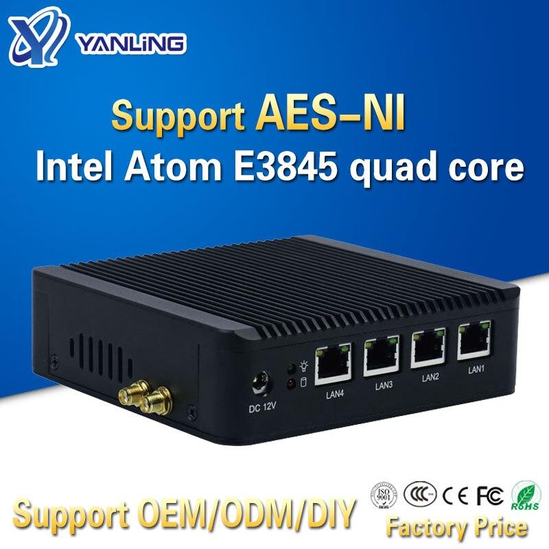 Yanling 4 Lan pfsense mini pc Intel atom E3845 quad core mini itx linux cortafuegos para ordenador anfitrión soporte de la máquina AES-NI