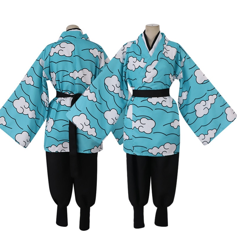Аниме demon slayer kimetsu no yaiba kamado tanjirou urokodaki sakonji костюм для косплея голубое небо кимоно Униформа helloween наряд