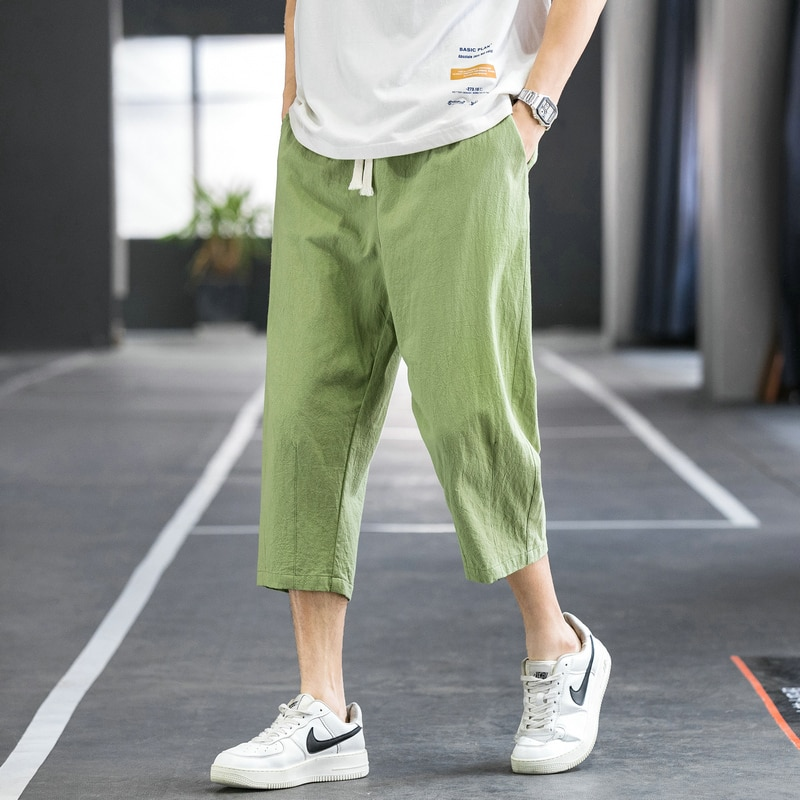 2021 New Summer Chinese Style Men's Baggy Harem Pants Capris Short Trousers Male Streetwear Joggers