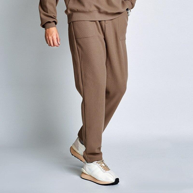 Зимние коричневые брюки, модные толстые спортивные брюки, мужские спортивные брюки с начесом, мужские повседневные джоггеры, свободные брю...