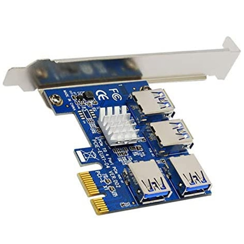 توسعة فتحة Pcie 1 إلى 4 Pci-Express 16X ، 4 محولات خارجية Pci-E Usb 3.0 مناسبة للتعدين