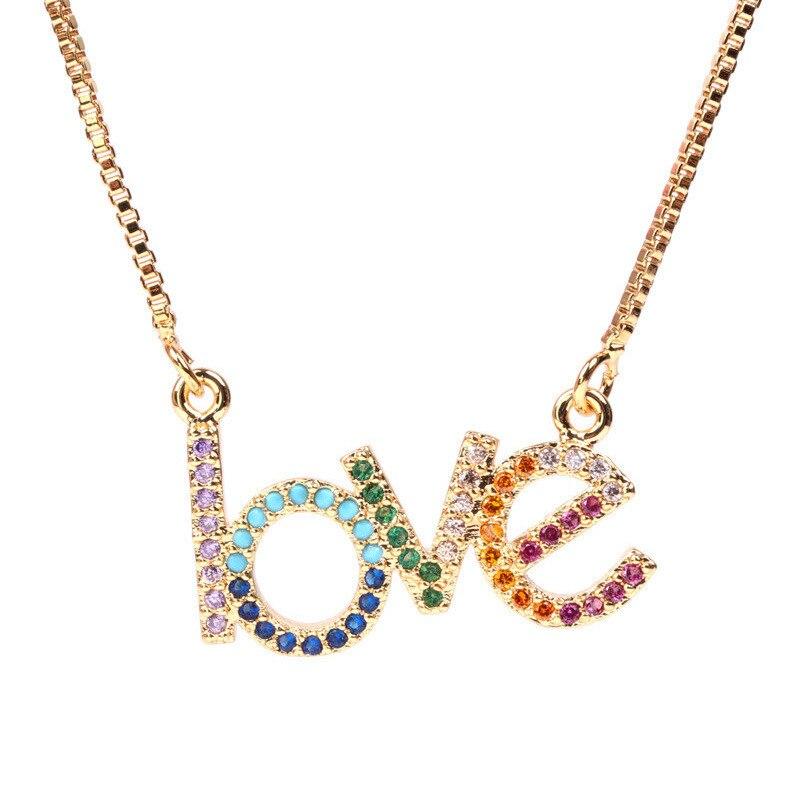 Collares y colgantes de Zirconia arcoiris con diseño de letras de amor para mujer, collar minimalista de circonia cúbica con diseño de arcoiris, collar de joyería de oro