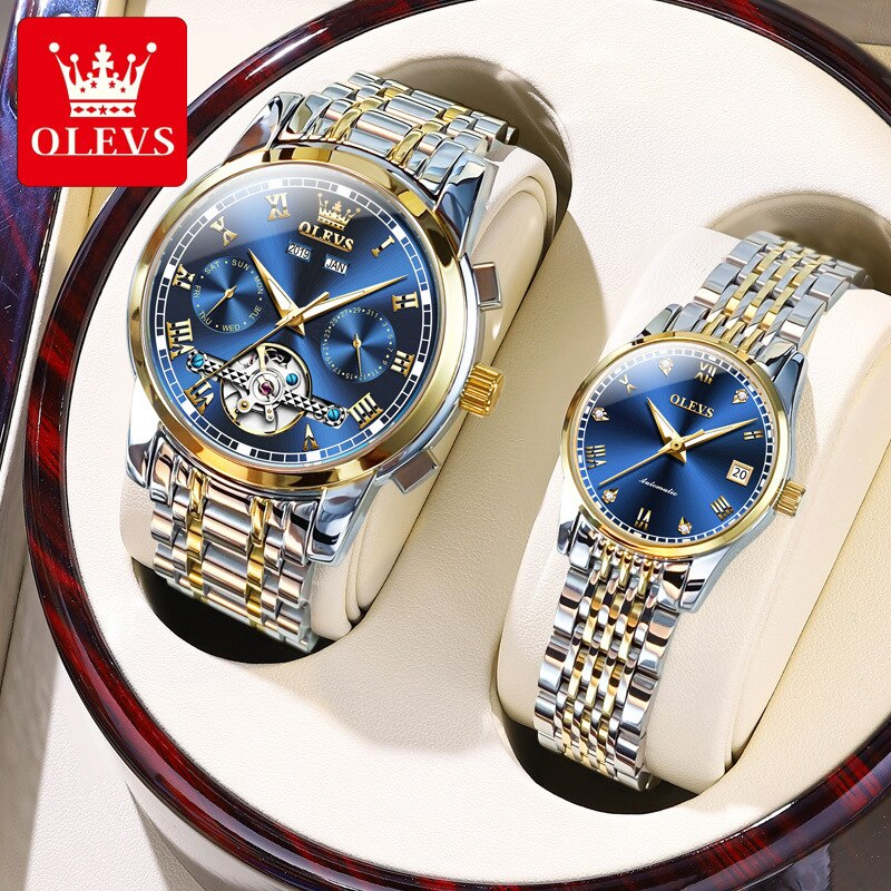 OLEVS Couple Watches Pair Men And Women Top Iuxury Waterproof Automatic Mechanical Watch Diamond Watch Relogio His And Hers Gift
