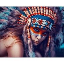 Beauté 5D pour coiffure indienne   Peinture bricolage diamant, broderie point de croix, diamant rond complet, peinture murale en cristal
