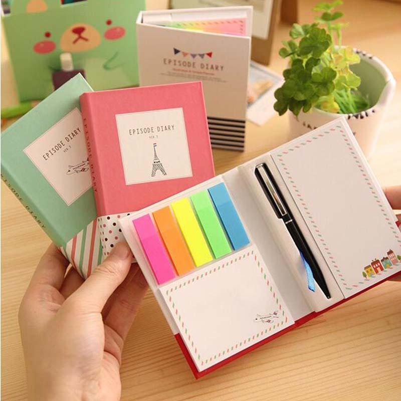 1 Mini cuaderno combinado de tapa dura con bolígrafo creativo libro Trivial diario Bloc de notas oficina memorándum escolar Pad Color al azar