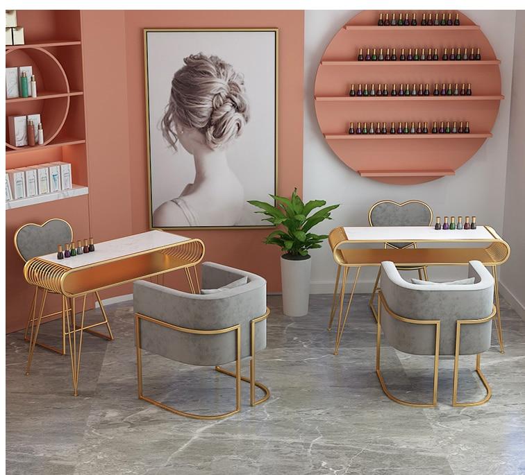 الذهبي الرخام طاولة مانيكير وكرسي واحد مزدوج ثلاثة شخص طاولة مانيكير طاولة مانيكير مانيكير متجر الجدول وكرسي