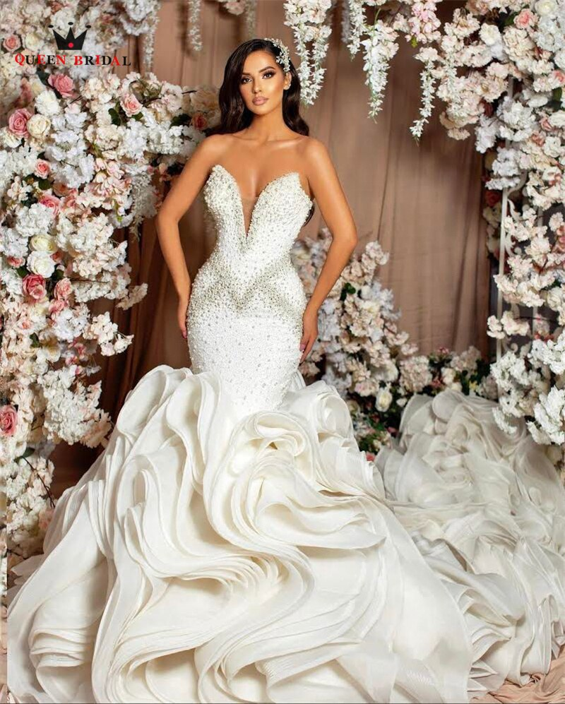 Get Sexy Wedding Dresses Mermaid Strapless Ruffle Long Train Crystal Beaded Diamond Luxury Formal Bridal Gowns Custom Size SK16