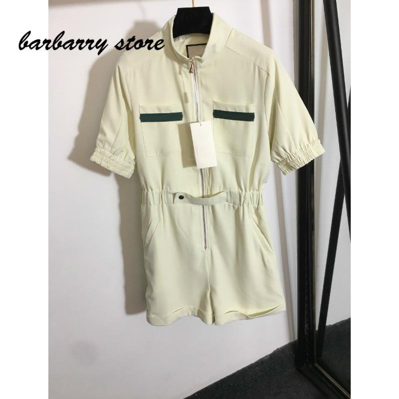 luxury brand pocket stripe fashion women's temperament stand collar versatile slim fit short sleeve close waist Jumpsuit shorts