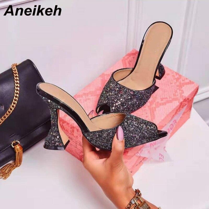 Aneikeh nuevo 2020 verano Sandalias de tela con lentejuelas zapatillas deslizantes en tacones finos tacones altos Flip Flop zapatos de mujer Sexy zapatillas bombas