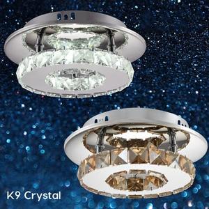 Amber Crystal Modern Ceiling Lamp Round Decorative Led Lights Loft Hallway Kitchen Light Corridor Bar K9 Shine Lustre Cuisine