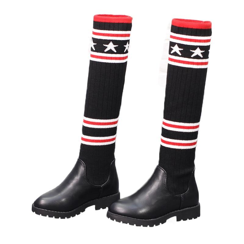 2020 primavera otoño niñas pequeñas tejidas botas largas Bebé calcetines para niñas botas con estrellas para niñas pequeñas zapatos para niños parches