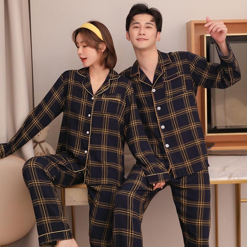 COUPLE'S Pajamas Men Spring and Autumn Long Sleeve Cotton Silk Tracksuit Japanese Style Plaid Rayon