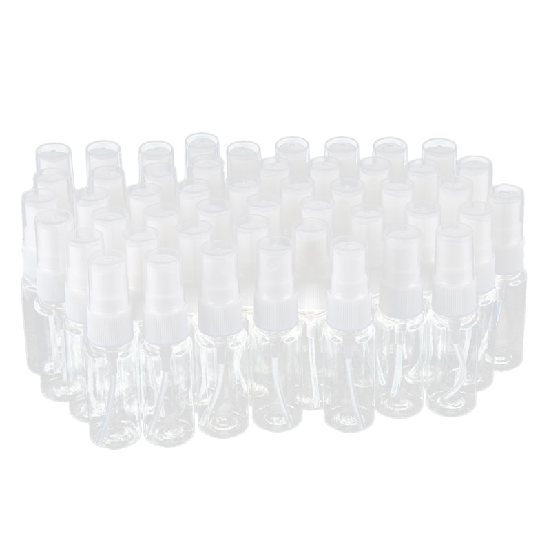 50-pack Empty Clear Plastic Fine Mist Spray Bottles with Microfiber Cleaning Cloth, 20ml Refillable Container Perfect for Cleani