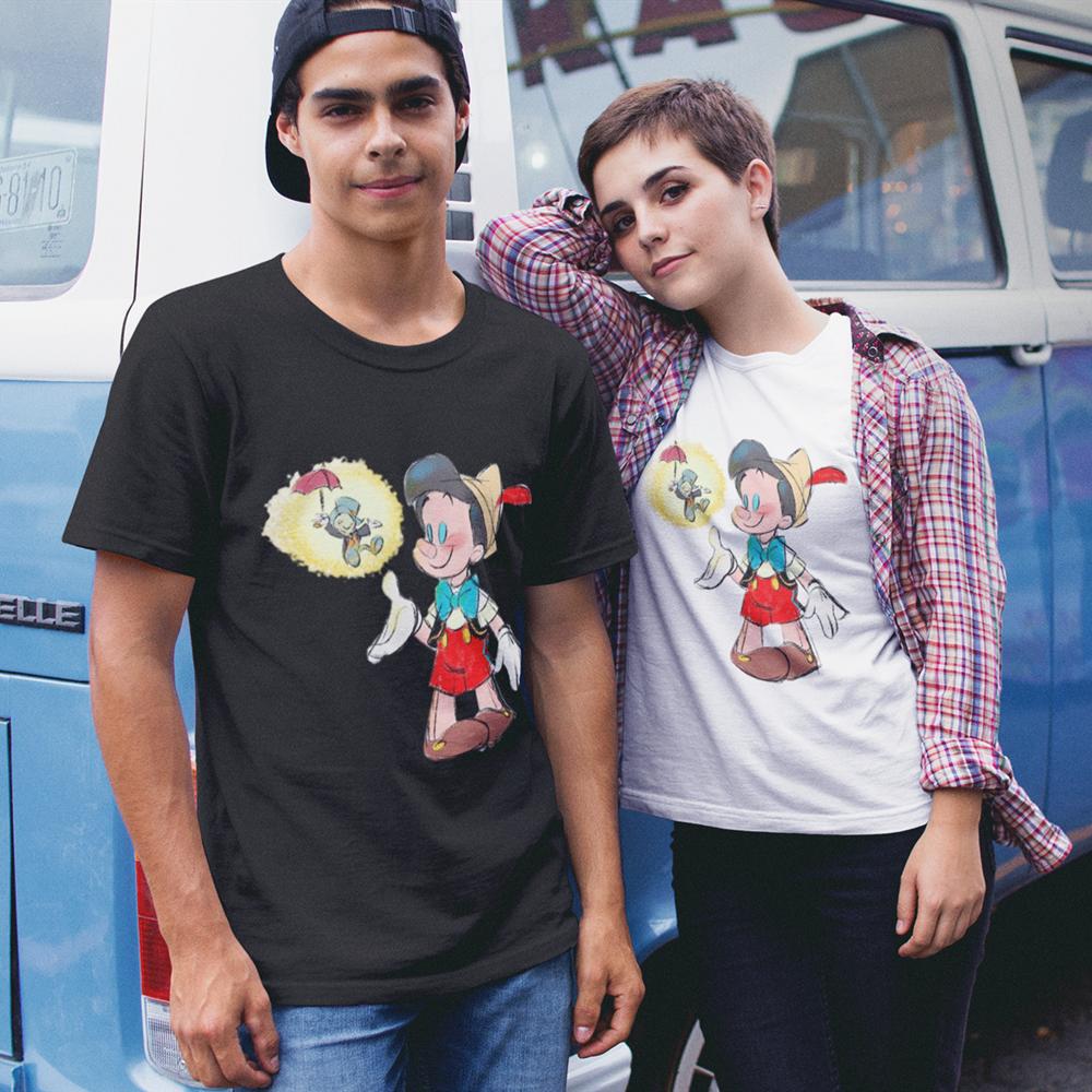 Summer Short Sleeve T-Shirt Girls Tee Disney Pinocchio Basic T Shirt Women Casual O-neck Unisex Hipster Tshirt Top 7 Colors