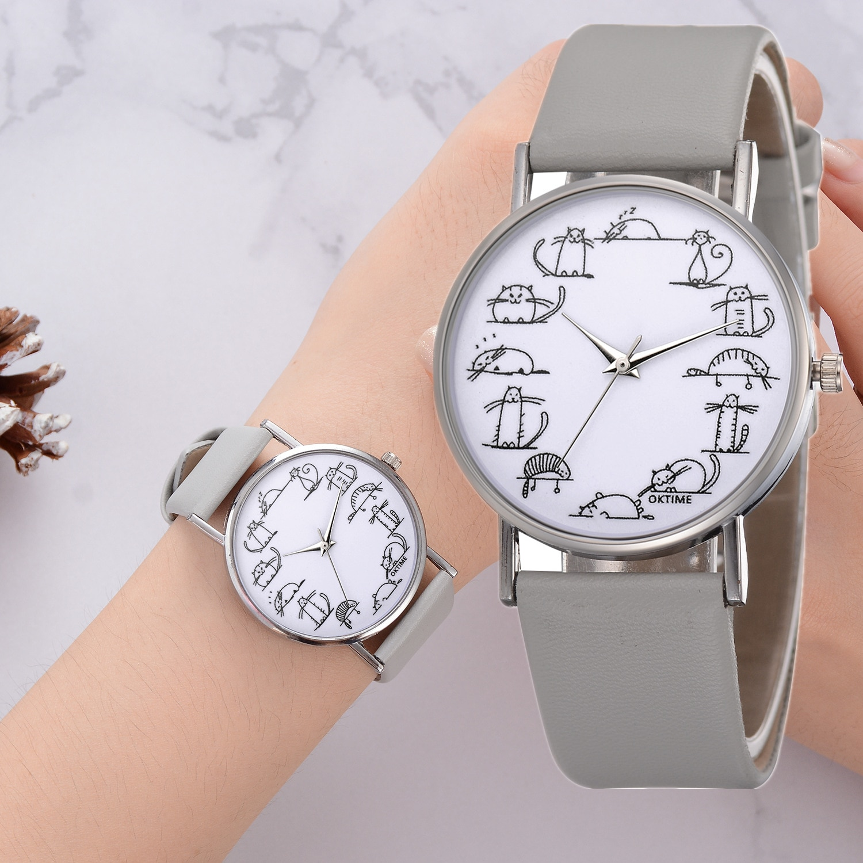 orologio donna Leather Belt Temperament Ladies Cat Print Dial Design Women Watch Girl Analog Quartz Wrist Watches Clock