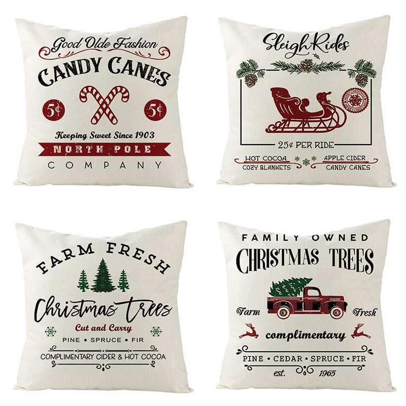 New Christmas Linen Cushion Cover Square Throw Flax Pillow Case Sofa Decorative Pillow Cover Christmas Pattern Pillowcase conch painting pattern square shape pillow case(without pillow inner)