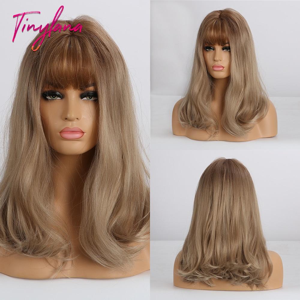 Pequeña Peluca de LANA largo ondulado Rubio claro marrón para mujeres, pelucas sintéticas afroamericanas con flequillo, peluca de Cosplay resistente al calor