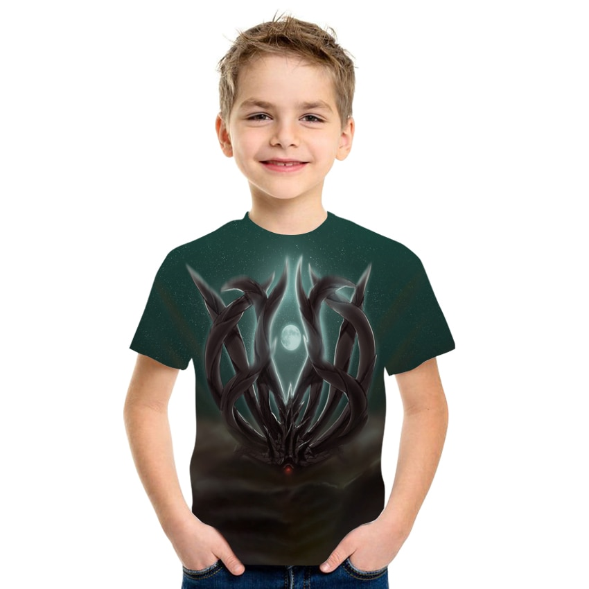 Summer 3D printed T-shirt boys and girls clothing milk silk high-quality short-sleeved fabric size 4T-16T