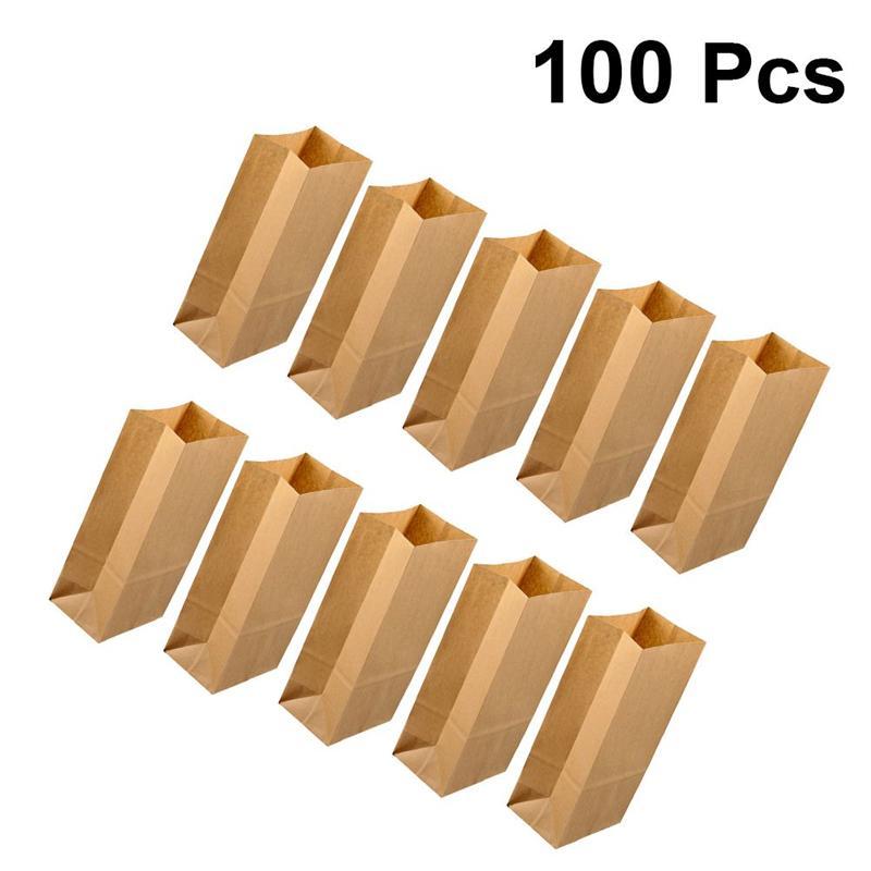 100 unidades de bolsas de papel Kraft para desayuno, bolsas de papel con fondo cuadrado, bolsas para hornear dulces, postres y fiestas, bolsas para envolver pan y comida
