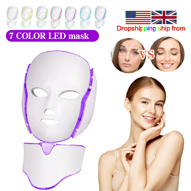 LED قناع الوجه مع الرقبة العناية بالبشرة 7 ألوان قناع الوجه علاج الجمال مكافحة حب الشباب العلاج تبييض الكورية Led سبا آلة قناع
