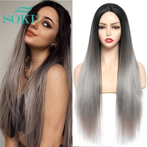 Ombre Gery Synthetic Lace Wig For Black Women Long Soft Straight Hairstyle SOKU Middle Part Heat Resist Daily Lace Wig