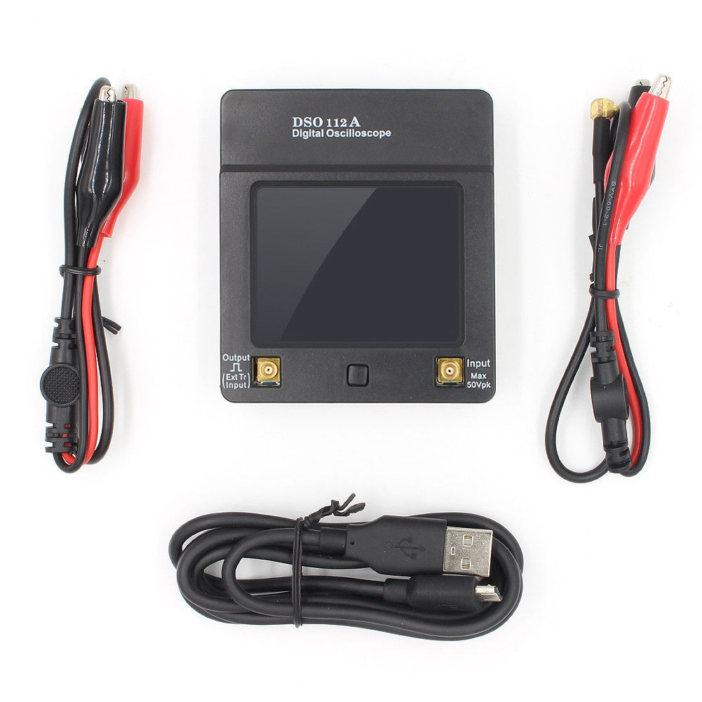 DSO112A Mini osciloscopio Herramientas 2MHz estable 5Msps analizador portátil USB Digital almacenamiento portátil pantalla táctil Durable