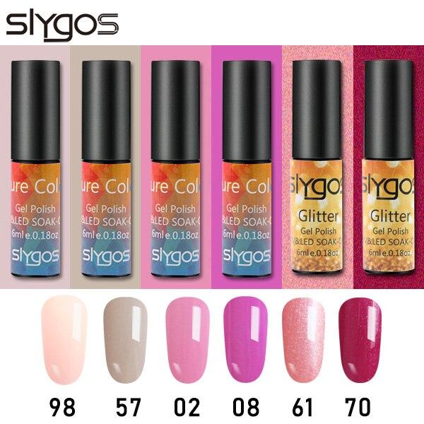 SLYGOS 6pcs UV Gel Unha Polonês Conjunto Gel Unhas Arte Semi Permanente Barbie Nu Rosa Roxo Glitter Polonês Todos Os para Manicures Projeto