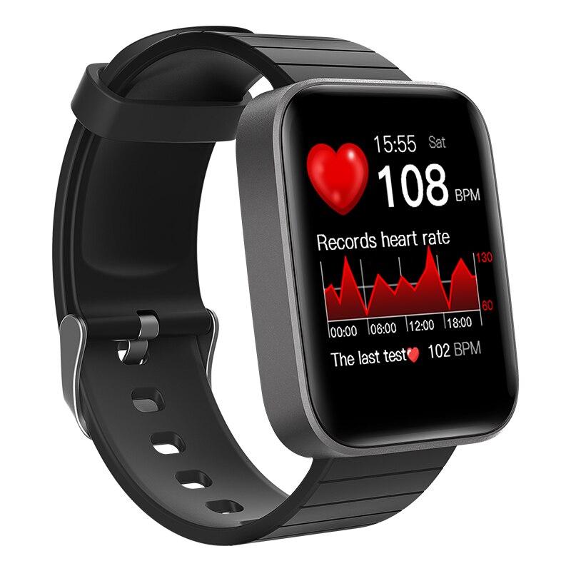 1.54 Inch Slimme Horloge Mannen Body Temperatuur Test Hartslag Bloeddruk Waterdichte Sport Horloge Band Led Zaklamp