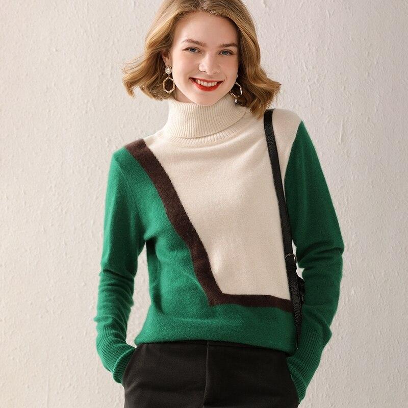 المرأة البلوز 2021 الخريف/الشتاء 100% رداء علوي من الصوف خياطة عادية الياقة المدورة سترة الكشمير المعنقة حجم كبير السيدات الأعلى الساخن