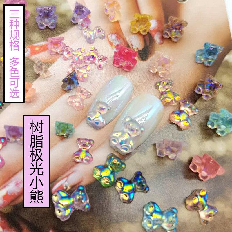 Для украшения ногтей, трехмерный клей Aurora Crystal, полимерные наклейки для ногтей в виде симфонического медведя, наклейки для ногтей