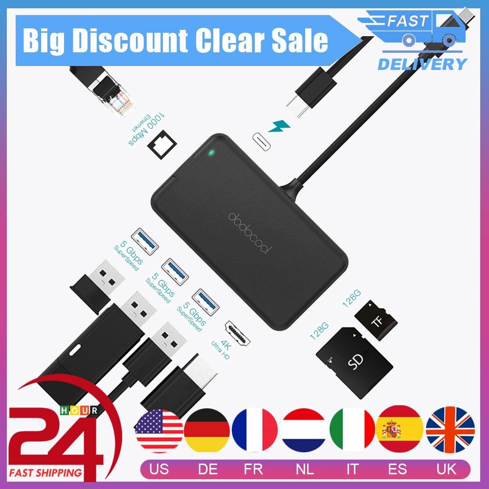 Dodocool USB C tipo C HUB USB 3,0 4K Video HD puerto de salida RJ45 Gigabit Ethernet adaptador USB HUB para MacBook Pro Galaxy S9